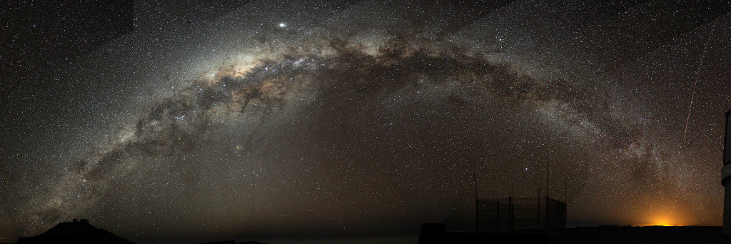 this photo is from the wikipedia page on the Milky Way. It's A fish-eye mosaic of the Milky Way arching at a high inclination across the night sky, shot from a dark-sky location in Chile