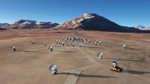 this is an artists rendition of the ALMA interferometer array that we talk about on the show. i got it off wikipedia.